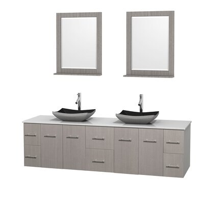 Centra 80 Double Gray Oak Bathroom Vanity Set with Mirror Top Finish: White Man-Made Stone, Sink Finish: Avalon White Carrera Marble