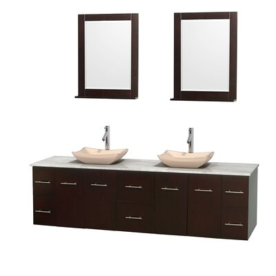 Centra 80 Double Espresso Bathroom Vanity Set with Mirror Top Finish: White Carrera Marble, Sink Finish: Avalon Ivory Marble