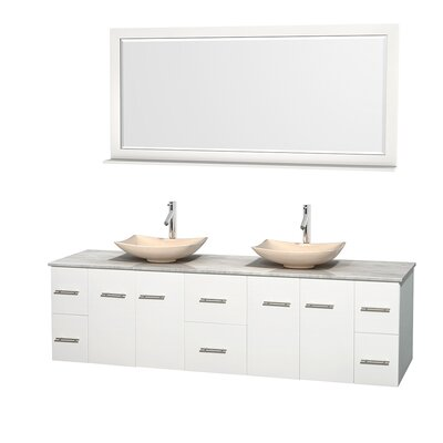 Centra 80 Double White Bathroom Vanity Set with Mirror Top Finish: White Carrera Marble, Sink Finish: Arista Ivory Marble