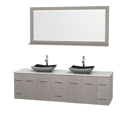 Centra 80 Double Gray Oak Bathroom Vanity Set with Mirror Top Finish: White Man-Made Stone, Sink Finish: Arista White Carrera Marble