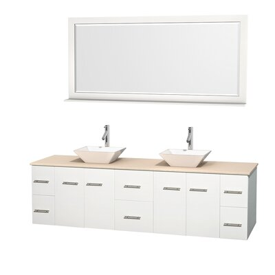 Centra 80 Double White Bathroom Vanity Set with Mirror Top Finish: Ivory Marble, Sink Finish: White Porcelain