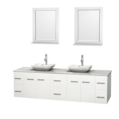 Centra 80 Double White Bathroom Vanity Set with Mirror Top Finish: White Carrera Marble, Sink Finish: Avalon White Carrera Marble