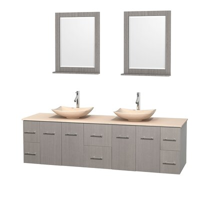 Centra 80 Double Gray Oak Bathroom Vanity Set with Mirror Top Finish: Ivory Marble, Sink Finish: Arista Ivory Marble