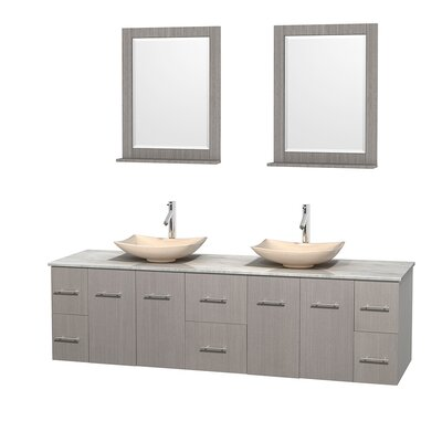 Centra 80 Double Gray Oak Bathroom Vanity Set with Mirror Top Finish: White Carrera Marble, Sink Finish: Arista Ivory Marble