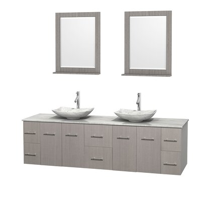 Centra 80 Double Gray Oak Bathroom Vanity Set with Mirror Top Finish: White Carrera Marble, Sink Finish: Arista White Carrera Marble