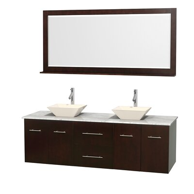 Centra 72 Double Espresso Bathroom Vanity Set with Mirror Top Finish: White Carrera Marble, Sink Finish: Bone Porcelain