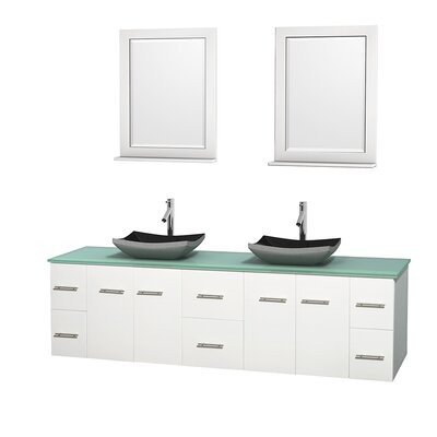 Centra 80 Double White Bathroom Vanity Set with Mirror Top Finish: Green Glass, Sink Finish: Altair Black Granite