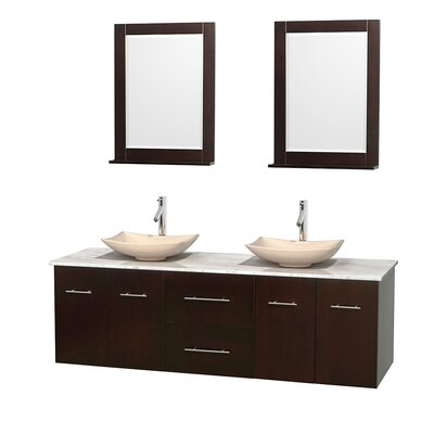 Centra 72 Double Espresso Bathroom Vanity Set with Mirror Top Finish: White Carrera Marble, Sink Finish: Arista Ivory Marble