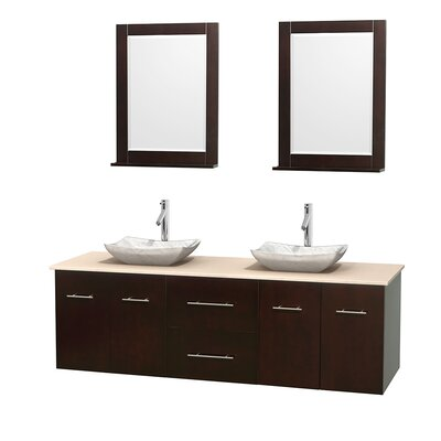 Centra 72 Double Espresso Bathroom Vanity Set with Mirror Top Finish: Ivory Marble, Sink Finish: Avalon White Carrera Marble