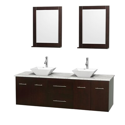 Centra 72 Double Espresso Bathroom Vanity Set with Mirror Top Finish: White Carrera Marble, Sink Finish: White Porcelain
