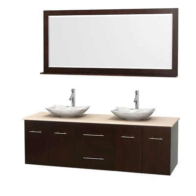 Centra 72 Double Espresso Bathroom Vanity Set with Mirror Top Finish: Ivory Marble, Sink Finish: Arista White Carrera Marble