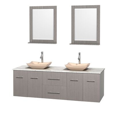 Centra 72 Double Gray Oak Bathroom Vanity Set with Mirror Top Finish: White Carrera Marble, Sink Finish: Avalon Ivory Marble