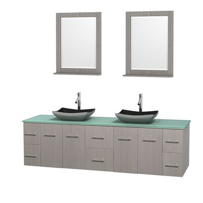 Centra 80 Double Gray Oak Bathroom Vanity Set with Mirror Top Finish: Green Glass, Sink Finish: Altair Black Granite