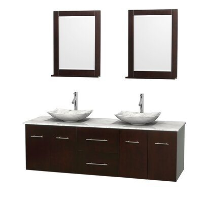 Centra 72 Double Espresso Bathroom Vanity Set with Mirror Top Finish: White Carrera Marble, Sink Finish: Arista White Carrera Marble