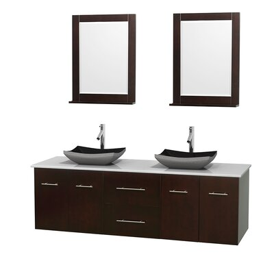 Centra 72 Double Espresso Bathroom Vanity Set with Mirror Top Finish: White Man-Made Stone, Sink Finish: Altair Black Granite