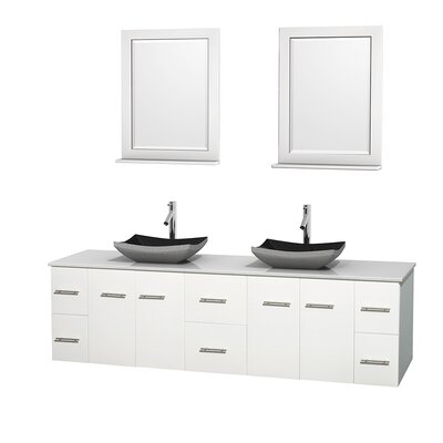 Centra 80 Double White Bathroom Vanity Set with Mirror Top Finish: Green Glass, Sink Finish: White Porcelain