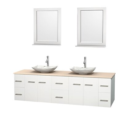 Centra 80 Double White Bathroom Vanity Set with Mirror Top Finish: Ivory Marble, Sink Finish: Arista White Carrera Marble