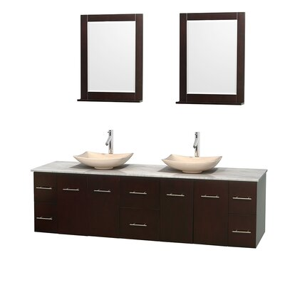 Centra 80 Double Espresso Bathroom Vanity Set with Mirror Top Finish: White Carrera Marble, Sink Finish: Arista Ivory Marble