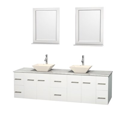 Centra 80 Double White Bathroom Vanity Set with Mirror Top Finish: White Carrera Marble, Sink Finish: Bone Porcelain