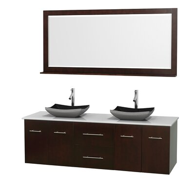 Centra 72 Double Espresso Bathroom Vanity Set with Mirror Top Finish: White Man-Made Stone, Sink Finish: Bone Porcelain
