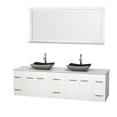 Centra 80 Double White Bathroom Vanity Set with Mirror Top Finish: Green Glass, Sink Finish: Avalon Ivory Marble