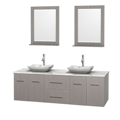 Centra 72 Double Gray Oak Bathroom Vanity Set with Mirror Top Finish: White Carrera Marble, Sink Finish: Avalon White Carrera Marble