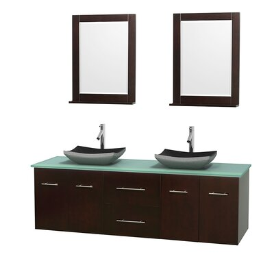 Centra 72 Double Espresso Bathroom Vanity Set with Mirror Top Finish: Green Glass, Sink Finish: Arista White Carrera Marble