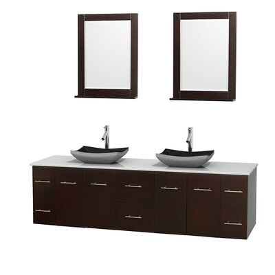 Centra 80 Double Espresso Bathroom Vanity Set with Mirror Top Finish: Green Glass, Sink Finish: Avalon White Carrera Marble