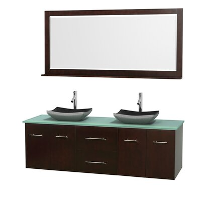 Centra 72 Double Espresso Bathroom Vanity Set with Mirror Top Finish: Green Glass, Sink Finish: Altair Black Granite