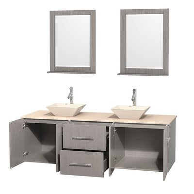 Centra 72 Double Gray Oak Bathroom Vanity Set with Mirror Top Finish: Ivory Marble, Sink Finish: Bone Porcelain