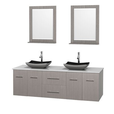 Centra 72 Double Gray Oak Bathroom Vanity Set with Mirror Top Finish: White Man-Made Stone, Sink Finish: Altair Black Granite