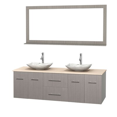 Centra 72 Double Gray Oak Bathroom Vanity Set with Mirror Top Finish: Ivory Marble, Sink Finish: Arista White Carrera Marble