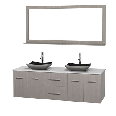 Centra 72 Double Gray Oak Bathroom Vanity Set with Mirror Top Finish: White Man-Made Stone, Sink Finish: Avalon White Carrera Marble