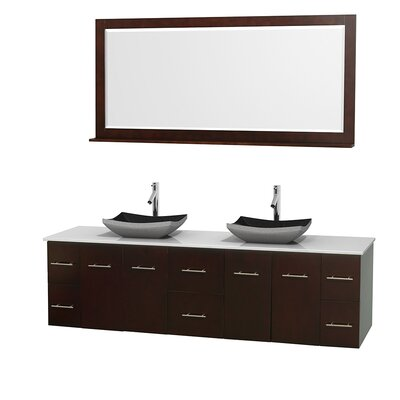 Centra 80 Double Espresso Bathroom Vanity Set with Mirror Top Finish: Green Glass, Sink Finish: Arista White Carrera Marble