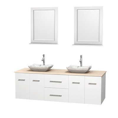 Centra 72 Double White Bathroom Vanity Set with Mirror Top Finish: Ivory Marble, Sink Finish: Avalon White Carrera Marble