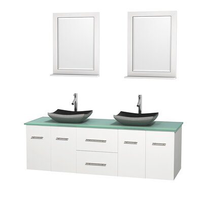 Centra 72 Double White Bathroom Vanity Set with Mirror Top Finish: Green Glass, Sink Finish: Avalon White Carrera Marble