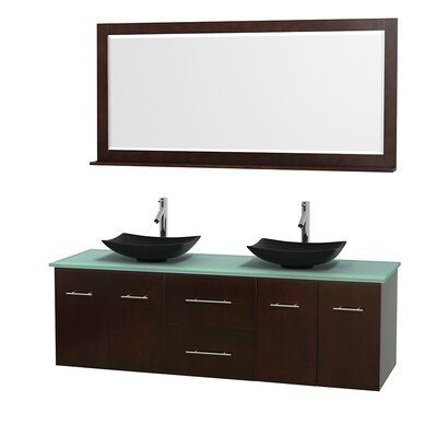 Centra 72 Double Espresso Bathroom Vanity Set with Mirror Top Finish: Green Glass, Sink Finish: Arista Black Granite