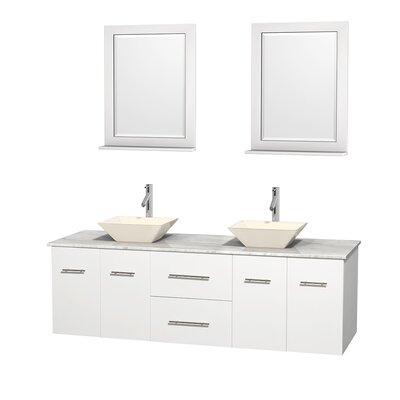 Centra 72 Double White Bathroom Vanity Set with Mirror Sink Finish: Bone Porcelain, Top Finish: White Carrera Marble