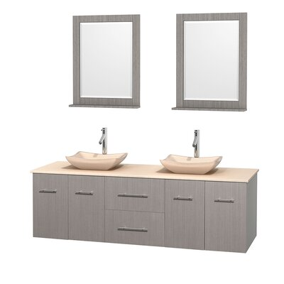 Centra 72 Double Gray Oak Bathroom Vanity Set with Mirror Top Finish: Ivory Marble, Sink Finish: Avalon Ivory Marble