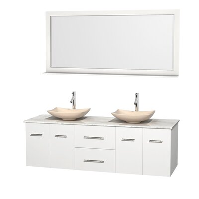 Centra 72 Double White Bathroom Vanity Set with Mirror Top Finish: White Carrera Marble, Sink Finish: Arista Ivory Marble