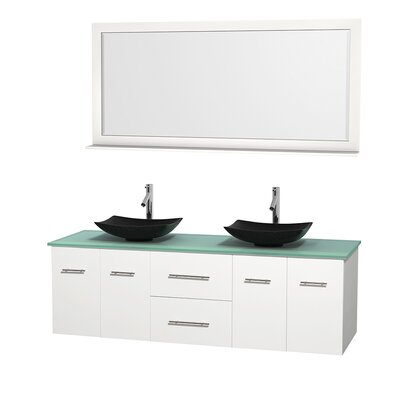 Centra 72 Double White Bathroom Vanity Set with Mirror Top Finish: Green Glass, Sink Finish: Arista Black Granite