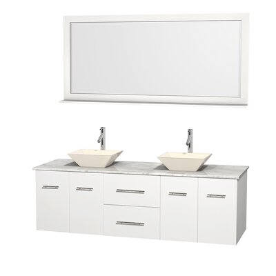 Centra 72 Double White Bathroom Vanity Set with Mirror Top Finish: White Carrera Marble, Sink Finish: Bone Porcelain