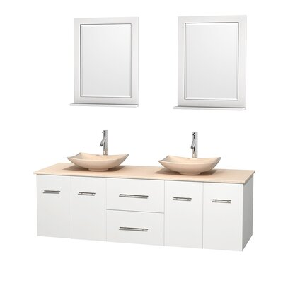 Centra 72 Double White Bathroom Vanity Set with Mirror Top Finish: Ivory Marble, Sink Finish: Arista Ivory Marble