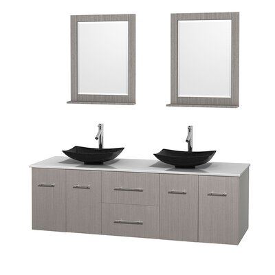 Centra 72 Double Gray Oak Bathroom Vanity Set with Mirror Top Finish: White Man-Made Stone, Sink Finish: Arista Black Granite