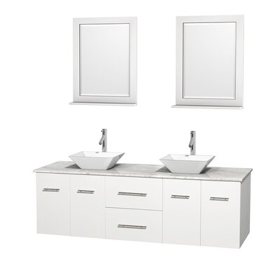 Centra 72 Double White Bathroom Vanity Set with Mirror Sink Finish: White Porcelain, Top Finish: White Carrera Marble