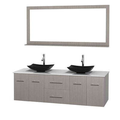 Centra 72 Double Gray Oak Bathroom Vanity Set with Mirror Sink Finish: Arista Black Granite, Top Finish: White Man-Made Stone