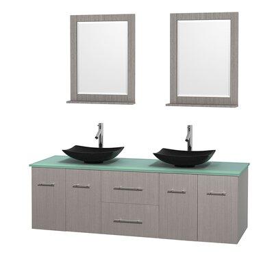 Centra 72 Double Gray Oak Bathroom Vanity Set with Mirror Top Finish: Green Glass, Sink Finish: Arista Black Granite