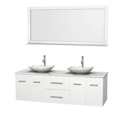 Centra 72 Double White Bathroom Vanity Set with Mirror Top Finish: White Carrera Marble, Sink Finish: Arista White Carrera Marble