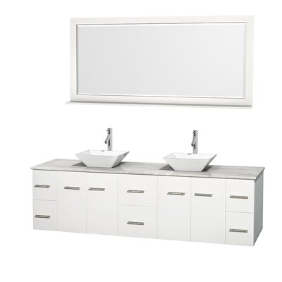 Centra 80 Double White Bathroom Vanity Set with Mirror Top Finish: White Carrera Marble, Sink Finish: White Porcelain