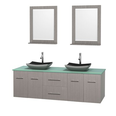 Centra 72 Double Gray Oak Bathroom Vanity Set with Mirror Sink Finish: Avalon White Carrera Marble, Top Finish: Green Glass